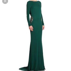 NWT Badgley Mischka Draped-Back Beaded Gown